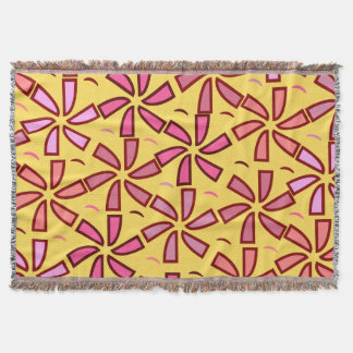 Floral pattern in pink and yellow throw blanket