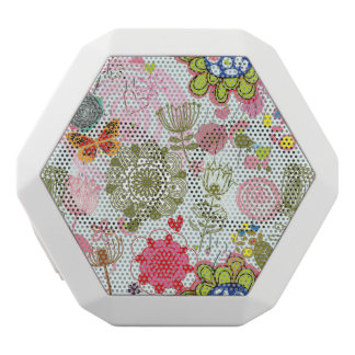 Floral pattern in retro style 2 white boombot rex bluetooth speaker