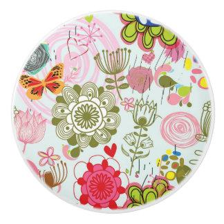 Floral pattern in retro style 2 ceramic knob