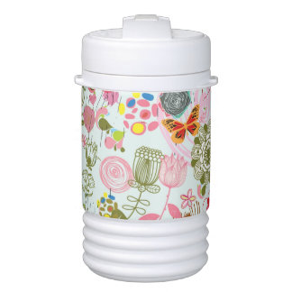 Floral pattern in retro style 2 drinks cooler