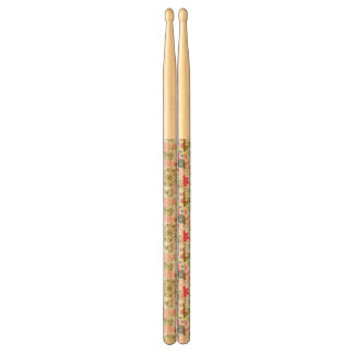 Floral pattern in retro style 2 drumsticks