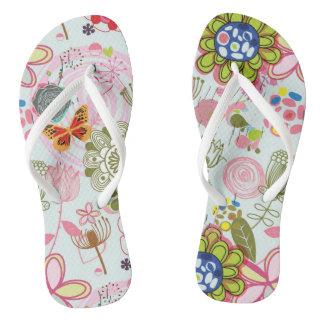 Floral pattern in retro style 2 flip flops