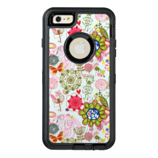 Floral pattern in retro style 2 OtterBox defender iPhone case