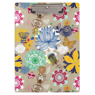 Floral pattern in retro style 3 clipboard