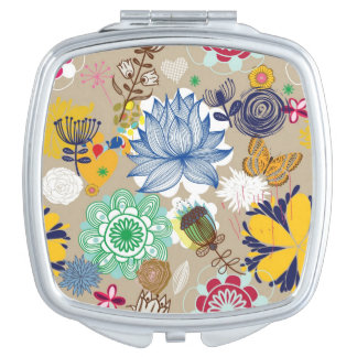 Floral pattern in retro style 3 compact mirror