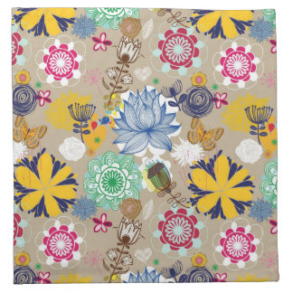 Floral pattern in retro style 3 napkin