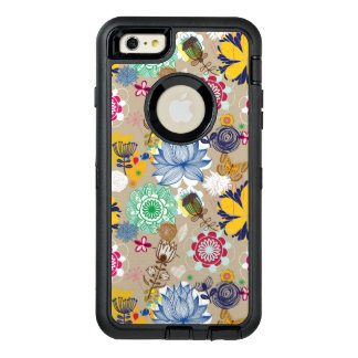 Floral pattern in retro style 3 OtterBox defender iPhone case