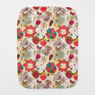 Floral pattern in retro style 4 burp cloth