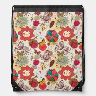 Floral pattern in retro style 4 drawstring bag