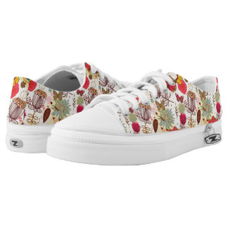 Floral pattern in retro style 4 low tops