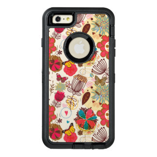 Floral pattern in retro style 4 OtterBox defender iPhone case