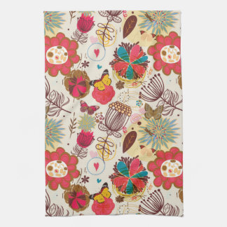 Floral pattern in retro style 4 tea towel