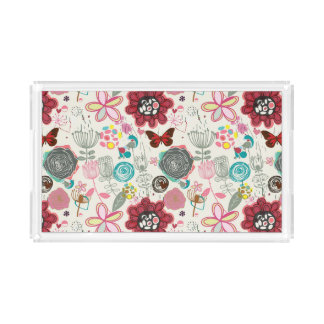 Floral pattern in retro style 5 acrylic tray