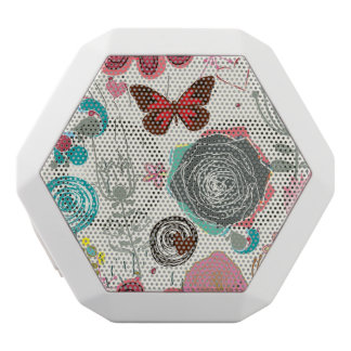 Floral pattern in retro style 5 white boombot rex bluetooth speaker
