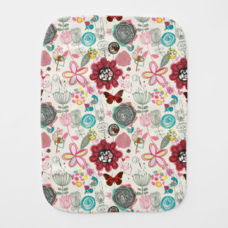 Floral pattern in retro style 5 burp cloth