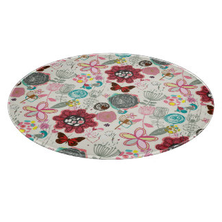 Floral pattern in retro style 5 cutting board
