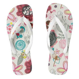 Floral pattern in retro style 5 flip flops
