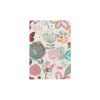 Floral pattern in retro style 5 passport holder
