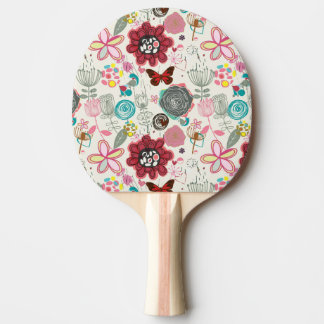 Floral pattern in retro style 5 ping pong paddle