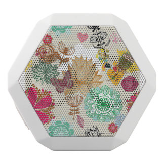 Floral pattern in retro style white boombot rex bluetooth speaker