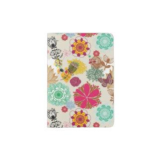 Floral pattern in retro style passport holder