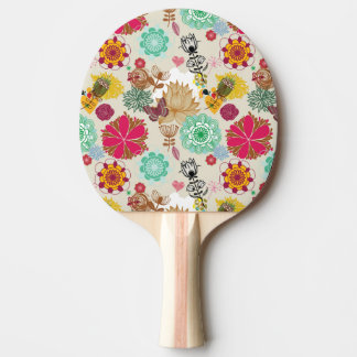 Floral pattern in retro style ping pong paddle