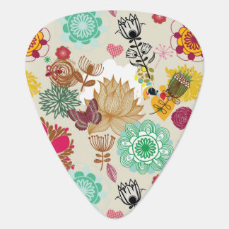 Floral pattern in retro style plectrum