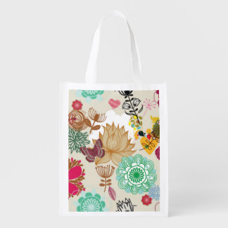 Floral pattern in retro style reusable grocery bag