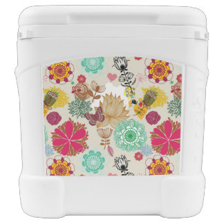 Floral pattern in retro style rolling cooler