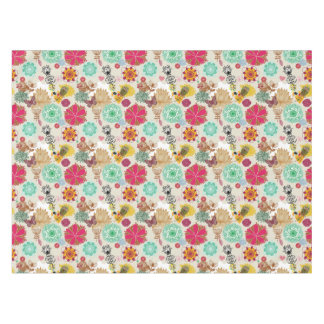 Floral pattern in retro style tablecloth