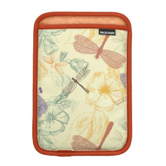 Floral pattern in vintage style dragonfly foliage iPad mini sleeve