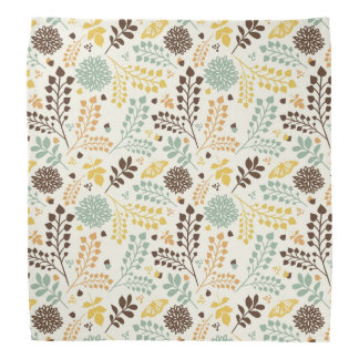 Floral pattern: leaves, flowers and butterfly bandana