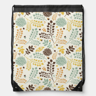 Floral pattern: leaves, flowers and butterfly drawstring bag