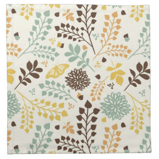 Floral pattern: leaves, flowers and butterfly napkin