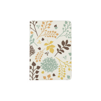 Floral pattern: leaves, flowers and butterfly passport holder