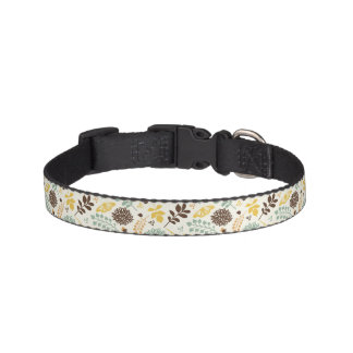 Floral pattern: leaves, flowers and butterfly pet collar