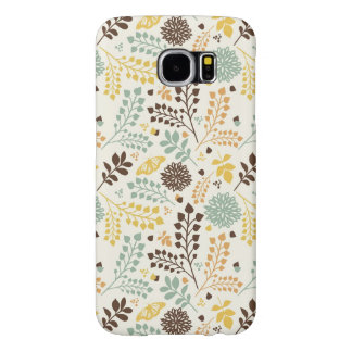 Floral pattern: leaves, flowers and butterfly samsung galaxy s6 cases