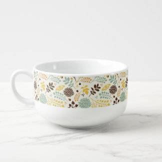 Floral pattern: leaves, flowers and butterfly soup mug