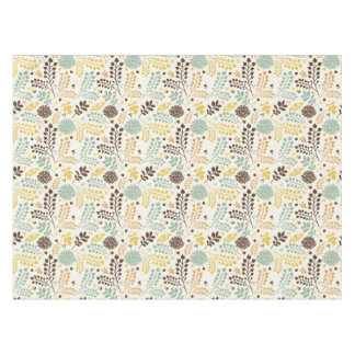 Floral pattern: leaves, flowers and butterfly tablecloth