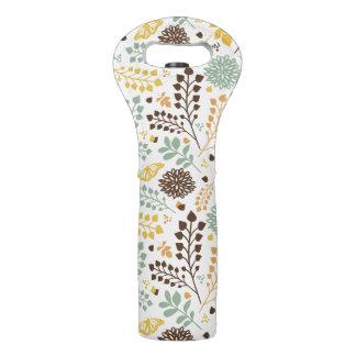 Floral pattern: leaves, flowers and butterfly wine bag