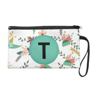 Floral Pattern Makeup Bag with Monogram