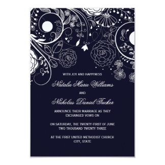 Floral Pattern Navy - 3x5 Wedding Announcement