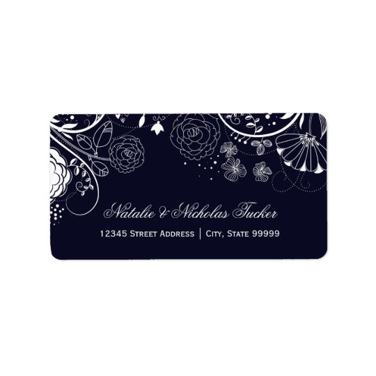 Floral Pattern Navy/White - Address Labels