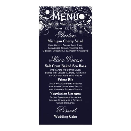 Floral Pattern Navy/White - Reception Menu Custom Rack Card