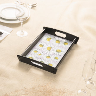 Floral Pattern of White and Yellow Daisies Service Tray