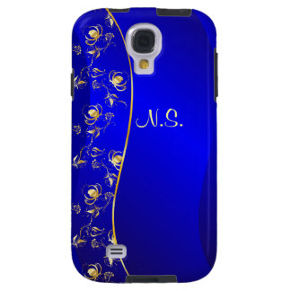 Floral pattern on blue line background galaxy s4 case