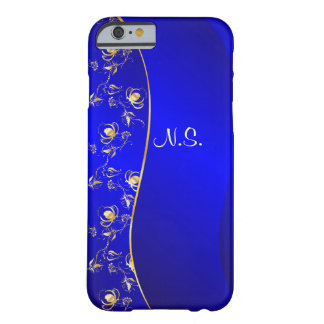 Floral pattern on blue wave background barely there iPhone 6 case