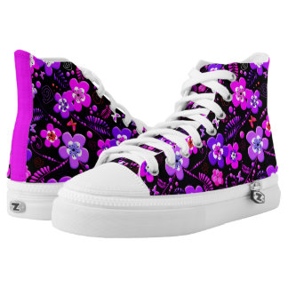 Floral pattern pink and purple high tops