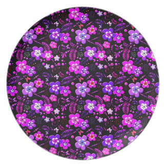 Floral pattern pink and purple plate