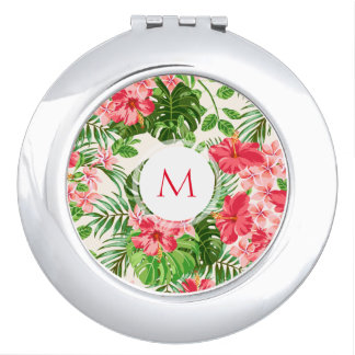 Floral Pattern Pink Hibiscus Monogram Compact M Mirror For Makeup